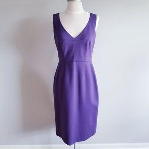 ELIE TAHARI PURPLE V-NECK SLEEVELESS DRESS